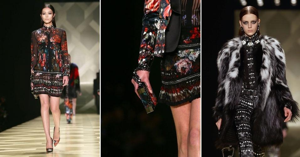 23 fev. 2013 - Surpreendente mistura de cores, texturas e estampas permearam a coleção do estilista Roberto Cavalli, na Semana de Moda de Milão