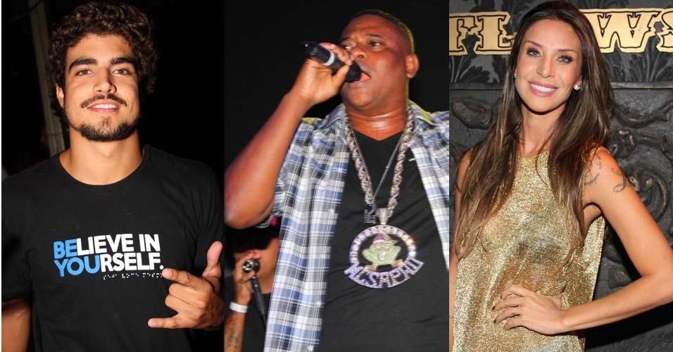 23.fev.2013 - Ator Caio Castro e a ex-Panicat Lizzi Benites curtiram o show do Mc Sapão na noite de sexta, em São Paulo