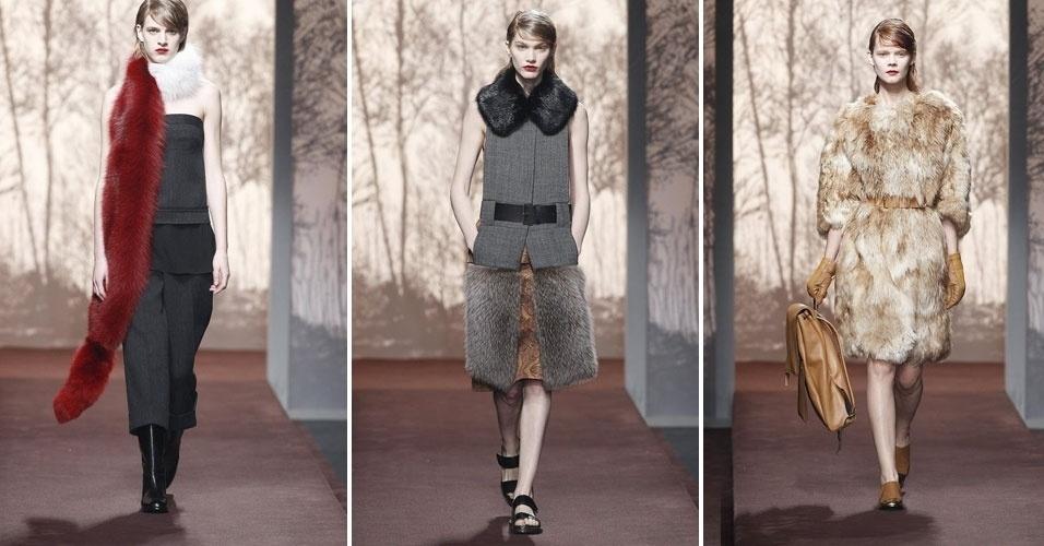 24 fev. 2013 - A Marni levou para as passarelas de Milão roupas feitas de pele, como longas e coloridas estolas ou casacos inteiros feitos do material