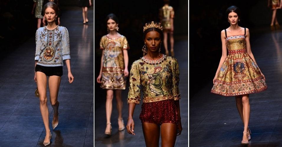 24 fev. 2013 - Modelos usando coroas apresentaram a coleção de Dolce & Gabbana na Semana de Moda de Milão. Peças com muitos detalhes, bordados e referências religiosas chamaram a atenção no desfile