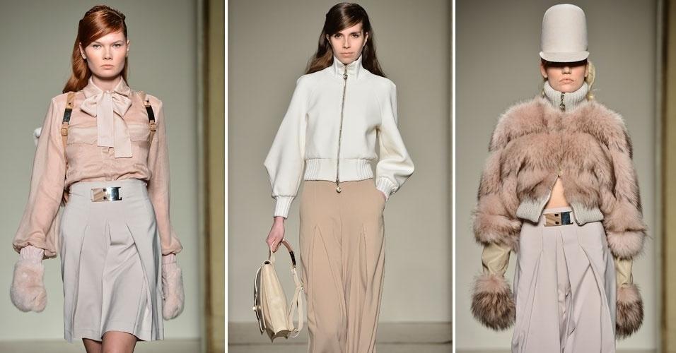 24 fev. 2013 - Sergei Grinko abusou dos tons pastel em sua delicada coleção, apresentada na Semana de Moda de Milão, que traz as tendências de outono/inverno