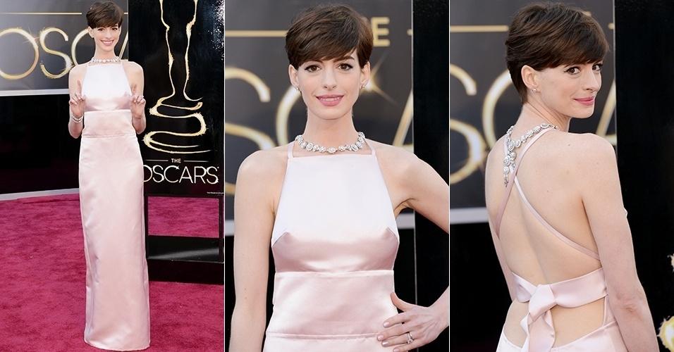 Anne Hathaway chega para o Oscar 2013, em Los Angeles (24/02/2013)