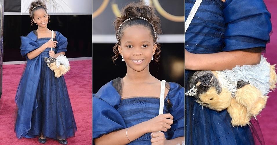 Quvenzhané Wallis chega para o Oscar 2013, em Los Angeles (24/02/2013)