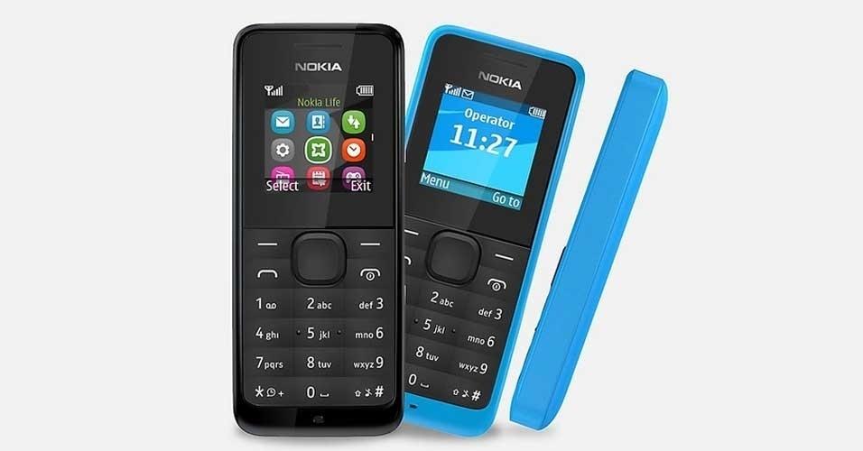 25.fev.2013 - A Nokia apresentou novos telefones celulares, que têm como principal chamariz o preço baixo. O modelo mais simples, chamado 105 (foto), será comercializado na Europa por 15 euros (cerca de R$ 39). Com teclado e tela de apenas 1,4 polegada, ele não oferece conexão Wi-Fi nem 3G, mas pode ser interessante para aqueles que desejam um aparelho apenas para falar. Ele conta com rádio FM, memória para 500 contatos, calculadora, lanterna, calendário e despertador