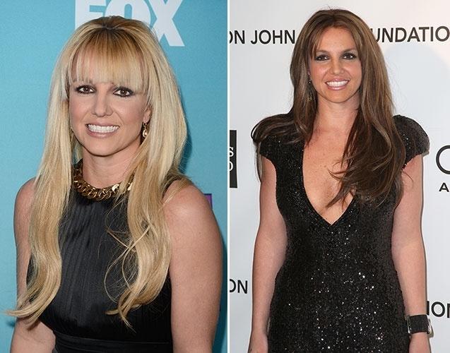 Fevereiro: Mundialmente conhecida por seus cabelos loiros, Britney Spears exibiu fios na cor chocolate na badalada festa pós-Oscar organizada pelo cantor Elton John. Apesar de mudar a cor, a cantora preservou o corte e o comprimento das madeixas. Em janeiro deste ano, Britney anunciou o fim do noivado com Jason Trawick.