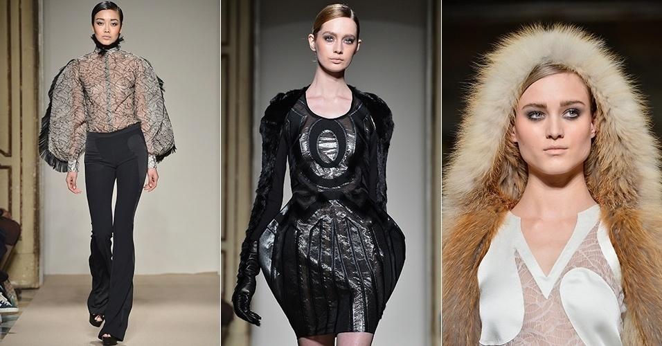 Modelos apresentam looks de Cristiano Burani para o Inverno 2013 durante a semana de moda de Milão (25/02/2013)