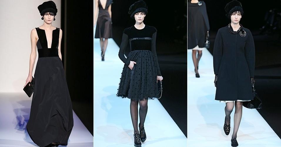 Modelos apresentam looks de Giorgio Armani para o Inverno 2013 durante a semana de moda de Milão (25/02/2013)