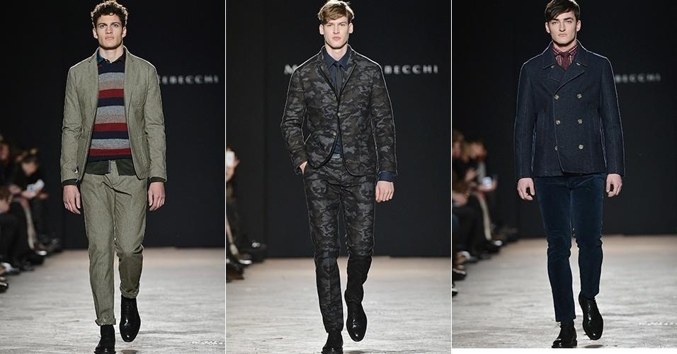 Modelos apresentam looks de Massimo Rebecchi para o Inverno 2013 durante a semana de moda de Milão (25/02/2013)