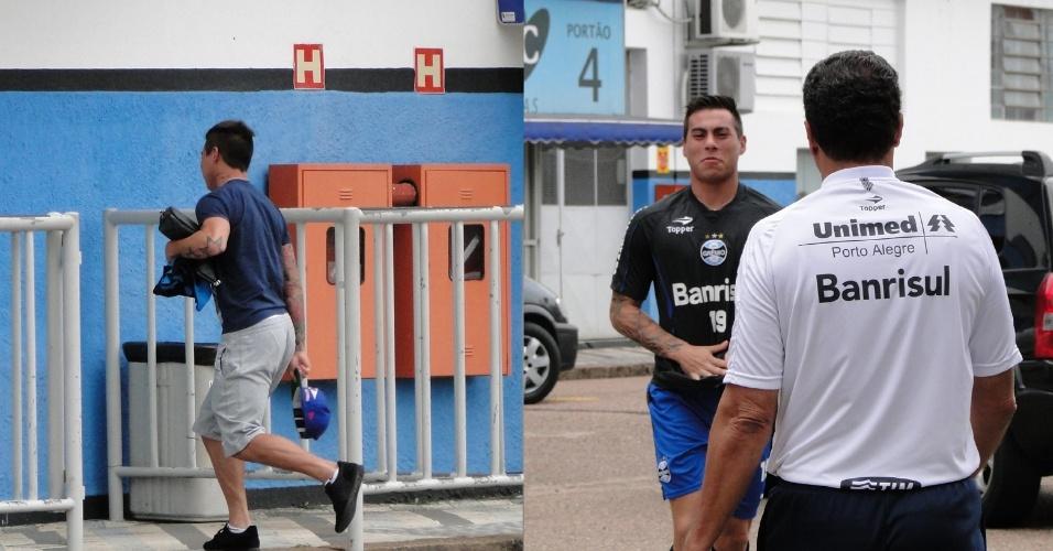 Vargas chega atrasado ao treino do Grêmio e antes de entrar no suplementar encontra o técnico Vanderlei Luxemburgo (25/02/2013)