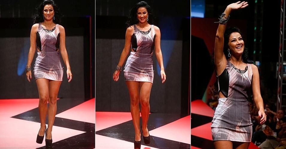 26 fev. 2013 - A modelo Helen Ganzarolli esteve entre as celebridades que passaram pela passarela do segundo dia de Mega Polo Moda