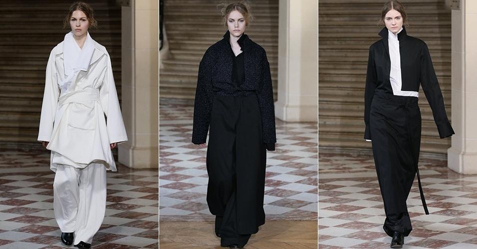 Modelos apresentam looks da Moon Young Hee para o Inverno 2013 durante a semana de moda de Paris (26/02/2013)