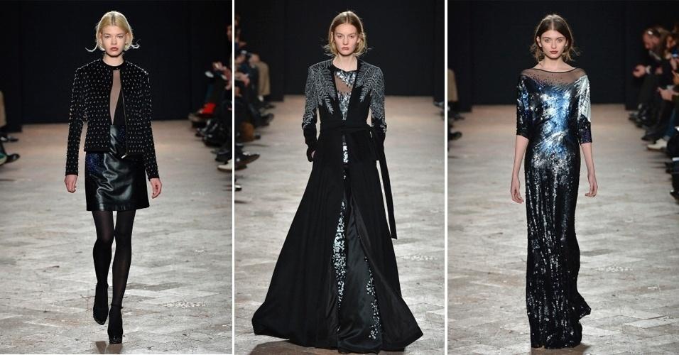 Modelos apresentam looks de Wang Peiyi para o Inverno 2013 durante a semana de moda de Milão (26/02/2013)
