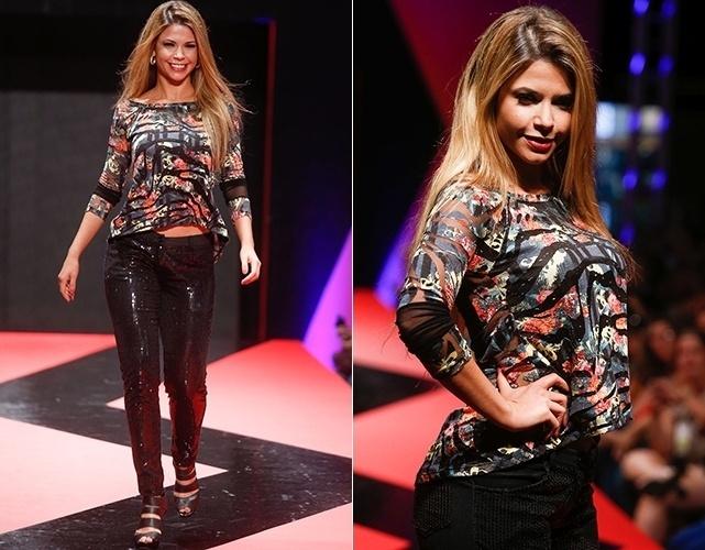 A ex-BBB Cacau Calucci esteve entre as celebridades na passarela do segundo dia de Mega Polo Moda (26/02/2013)