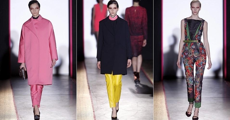 Modelos apresentam looks de Cédric Charlier para o Inverno 2013 durante a semana de moda de Paris (26/02/2013)
