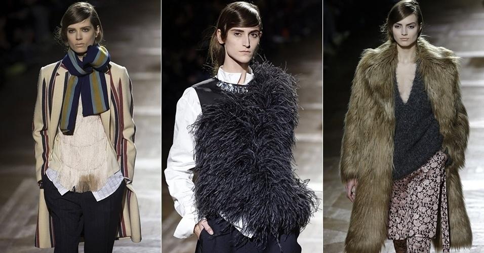Modelos apresentam looks de Dries Van Noten para o Inverno 2013 durante a semana de moda de Paris (27/02/2013)