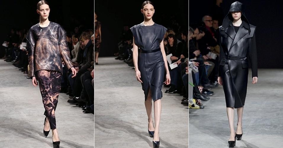 Modelos apresentam looks de Felipe Oliveira Baptista para o Inverno 2013 durante a semana de moda de Paris (27/02/2013)