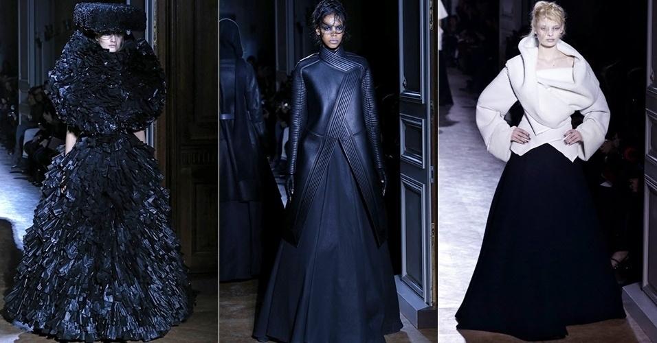 Modelos apresentam looks de Gareth Pugh para o Inverno 2013 durante a semana de moda de Paris (27/02/2013)