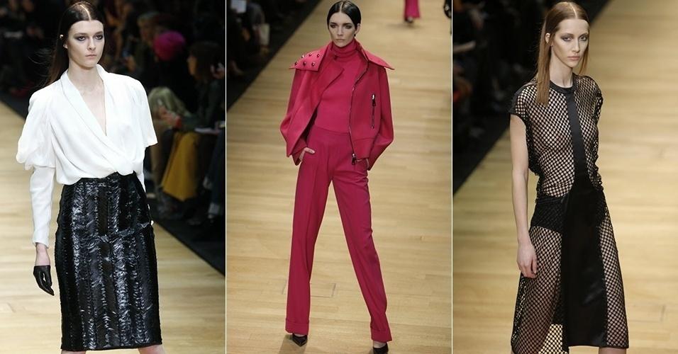Modelos apresentam looks de Guy Laroche para o Inverno 2013 durante a semana de moda de Paris (27/02/2013)