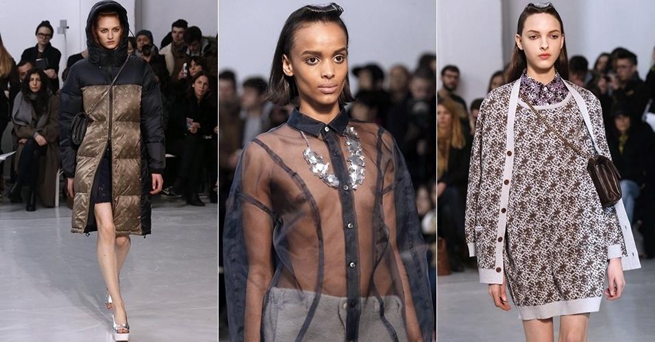 Modelos apresentam looks de Julien David para o Inverno 2013 durante a semana de moda de Paris (26/02/2013)