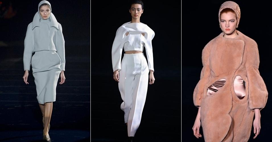 Modelos apresentam looks de Mugler para o Inverno 2013 durante a semana de moda de Paris (27/02/2013)