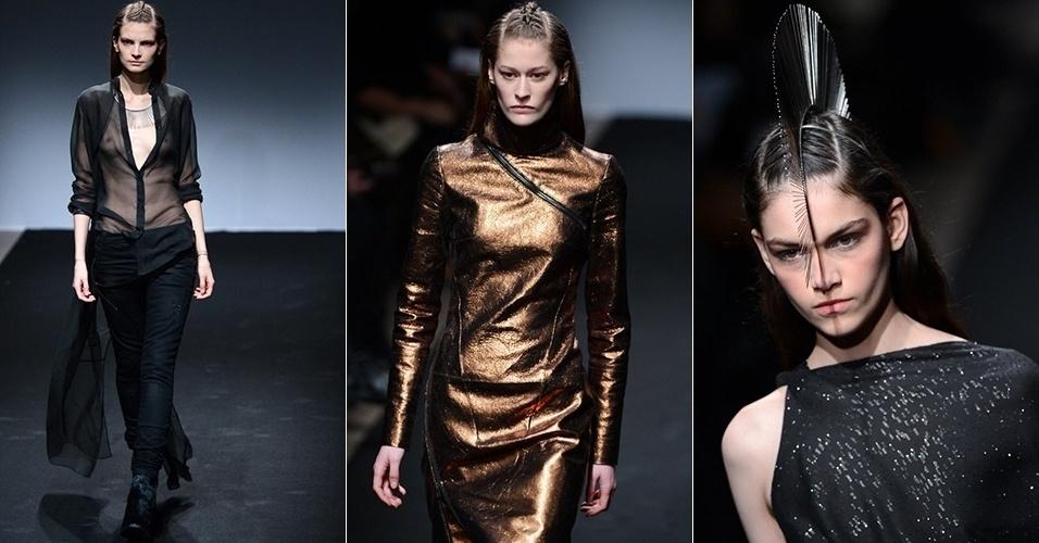 Modelos apresentam looks de Nicolas Andréas para o Inverno 2013 durante a semana de moda de Paris (27/02/2013)