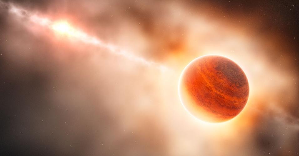 28.fev.2013 - Astrônomos observam pela primeira vez o que provavelmente é o nascimento de um planeta, ainda envolto em nuvens de gás e poeira