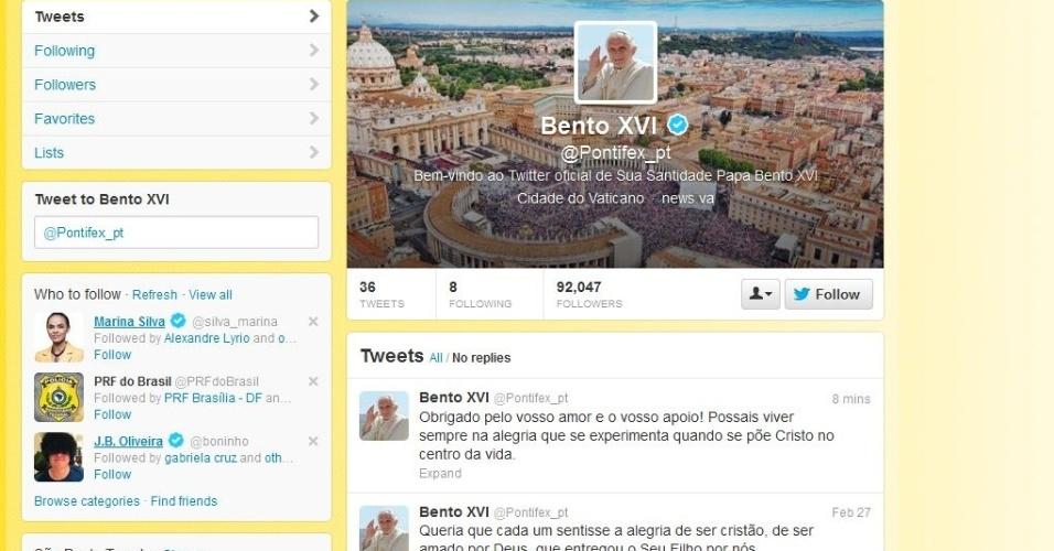 28.fev.2013 - Papa emérito Bento 16 publica sua última mensagem na versão brasileira de seu perfil oficial no Twitter. A página do Sumo Pontífice no microblog não será desativada, segundo o Vaticano. O próximo papa assumirá os posts no Twitter