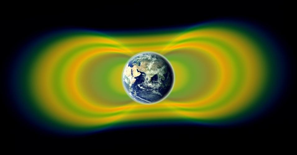 28.fev.2013 - Um grupo de cientistas da Nasa (Agência Espacial Norte-Americana) revelou que o Cinturão de Van Allen é formado por três anéis de radiação, e não dois como cravava a teoria anterior de 1958. A descoberta explica as variações dinâmicas que ocorriam nesta região da magnetosfera da Terra que concentra as partículas eletrificadas do Universo. Acima, gráfico mostra a radiação que circunda o nosso planeta (amarelo) e o espaço que há entre os aneis do Cinturão (verde)
