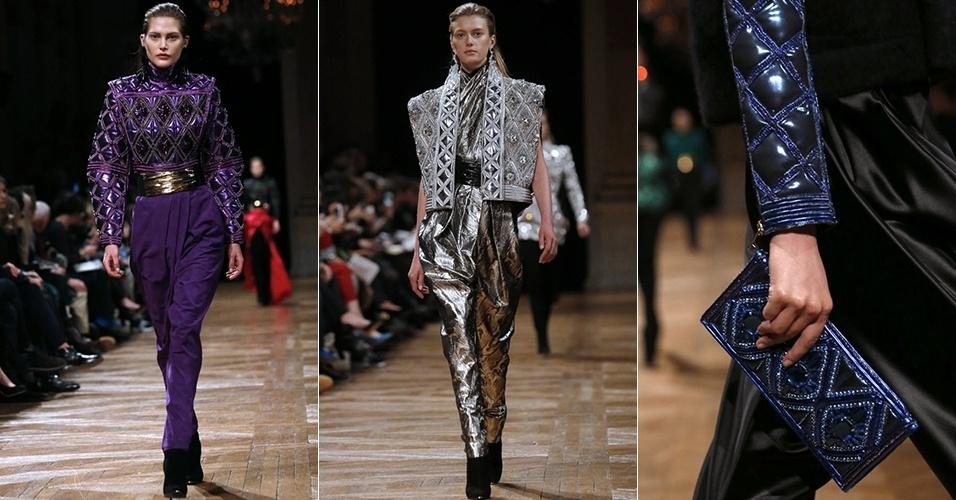 Modelos apresentam looks da Balmain para o Inverno 2013 durante a semana de moda de Paris (28/02/2013)