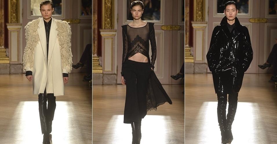 Modelos apresentam looks da Barbara Bui para o Inverno 2013 durante a semana de moda de Paris (28/02/2013)