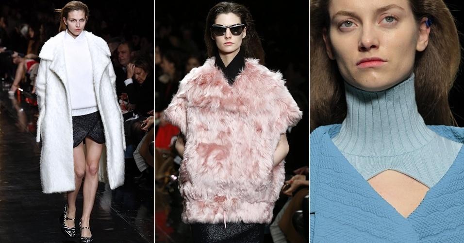 Modelos apresentam looks da Carven para o Inverno 2013 durante a semana de moda de Paris (28/02/2013)