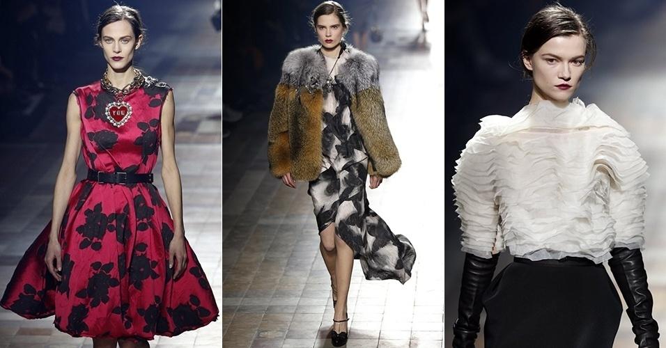Modelos apresentam looks da Lanvin para o Inverno 2013 durante a semana de moda de Paris (28/02/2013)