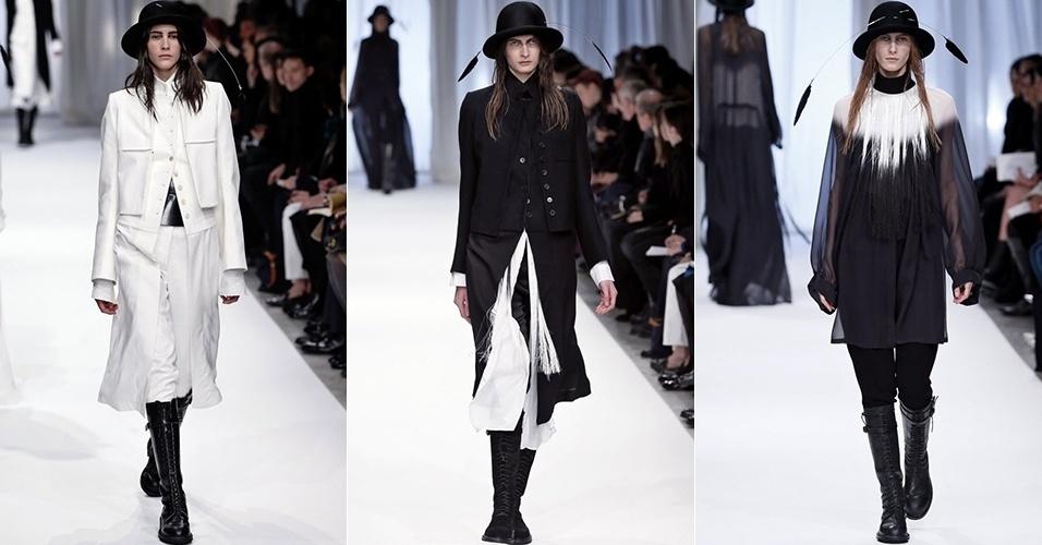 Modelos apresentam looks de Ann Demeulemeester para o Inverno 2013 durante a semana de moda de Paris (28/02/2013)