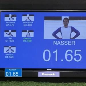 Cronômetro não marcou uma casa decimal. Tempo de Nasser foi, na verdade, 1,065
