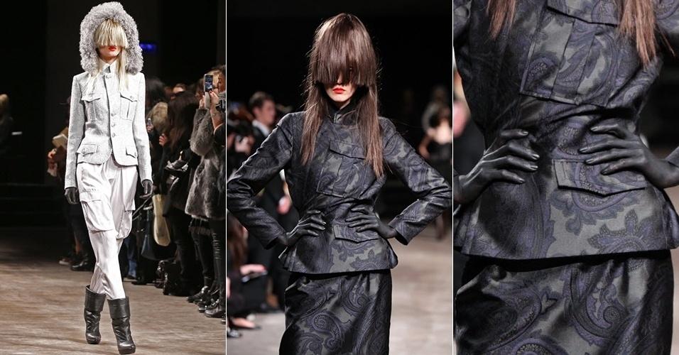 Modelos apresentam looks de AF Vandevorst para o Inverno 2013 durante a semana de moda de Paris (01/03/2013)