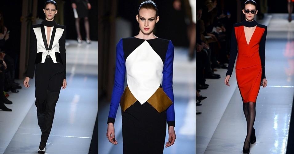 Modelos apresentam looks de Roland Mouret para o Inverno 2013 durante a semana de moda de Paris (01/03/2013)