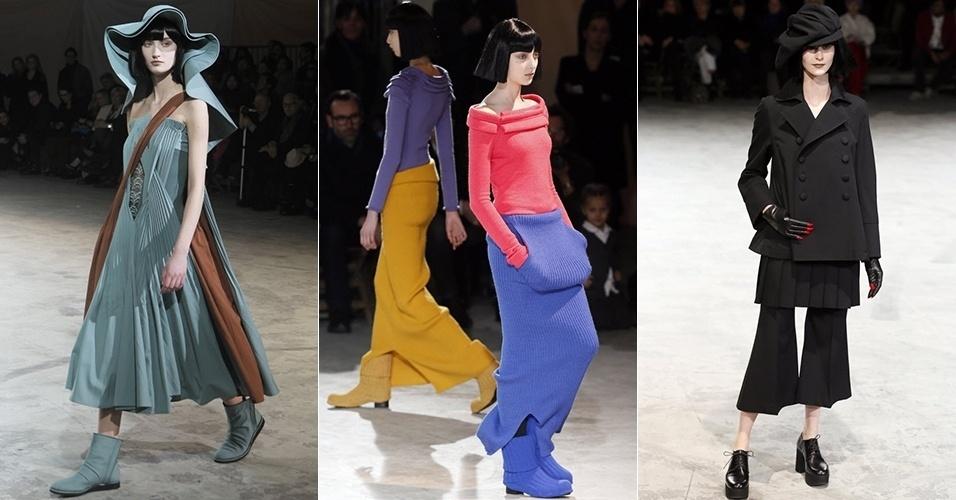 Modelos apresentam looks de Yohji Yamamoto para o Inverno 2013 durante a semana de moda de Paris (01/03/2013)