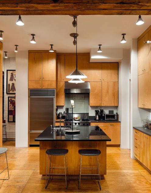 decoracao cozinha loft:Na cozinha do loft em Tribeca, Nova York, há espaço de sobra para o