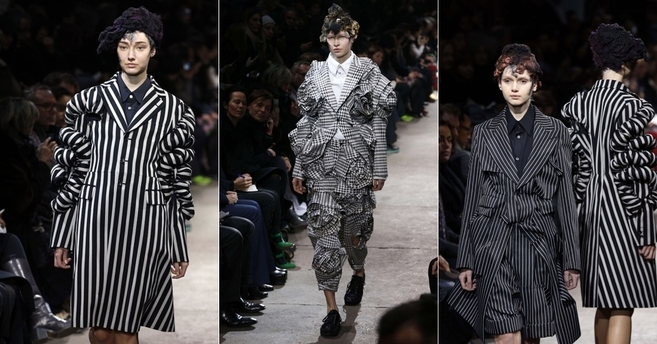 2.mar.2013 - Comme des Garçons leva roupas ao estilo uniforme para as passarelas de Paris