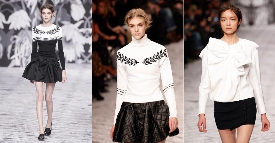 2.mar.2013 - Grife Viktor & Rolf aposta na combinação das cores branca e preta para a coleção de outono/inverno. Nos pés, modelos desfilam slippers