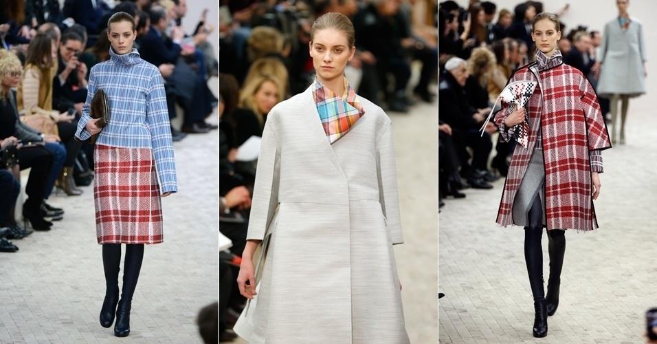 3.mar.2013 - Cortes retos e estampa xadrez marcaram presença nas roupas da nova coleção da grife Céline, assinada pela estilista britânica Phoebe Philo