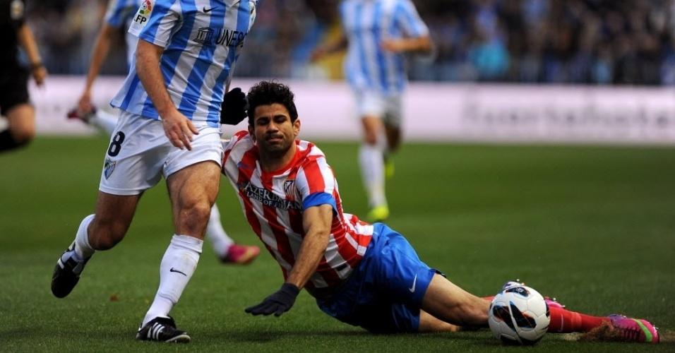 O atacante Diego Costa (d) brilhou na Copa do Rei, mas neste domingo o Atlético de Madri só empatou com Málaga