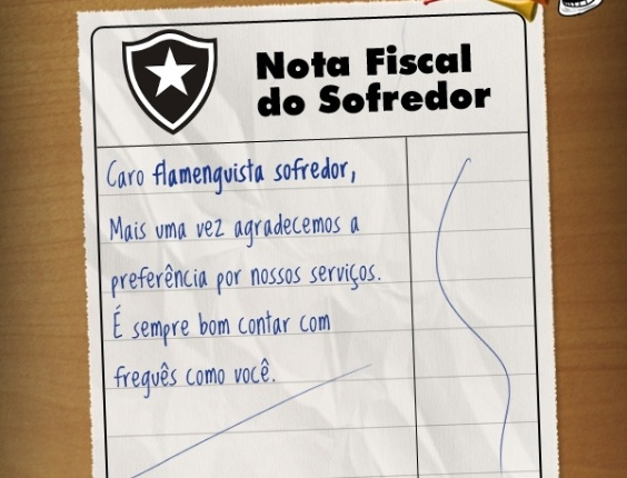 Corneta FC: Compartilhe a nota fiscal do flamenguista sofredor