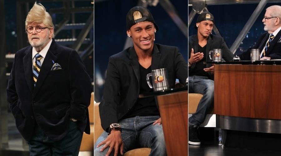 4.mar.2013 - Neymar participa da gravação do primeiro programa do ano do Jô em São Paulo. O apresentador usou uma peruca para homenagear o jogador de futebol