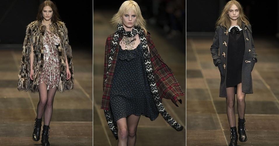 Modelos apresentam looks da Saint Laurent para o Inverno 2013 durante a semana de moda de Paris (04/03/2013)