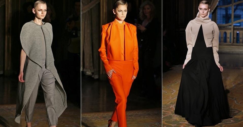 Modelos apresentam looks de Amaya Arzuaga para o Inverno 2013 durante a semana de moda de Paris (04/03/2013)