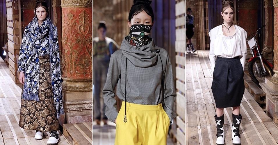Modelos apresentam looks de Jean Paul Lespagnard para o Inverno 2013 durante a semana de moda de Paris (04/03/2013)