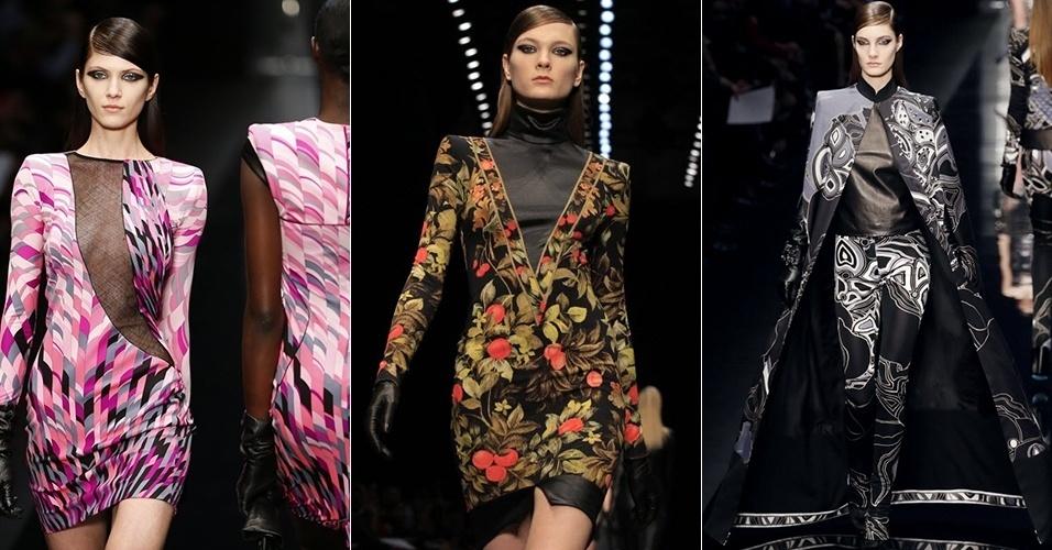 Modelos apresentam looks de Léonard para o Inverno 2013 durante a semana de moda de Paris (04/03/2013)