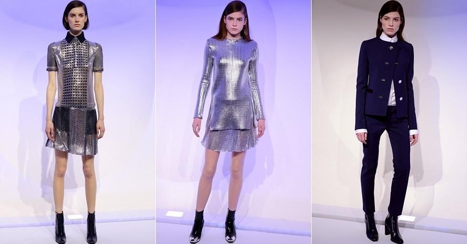 Modelos apresentam looks de Paco Rabbane para o Inverno 2013 durante a semana de moda de Paris (04/03/2013)