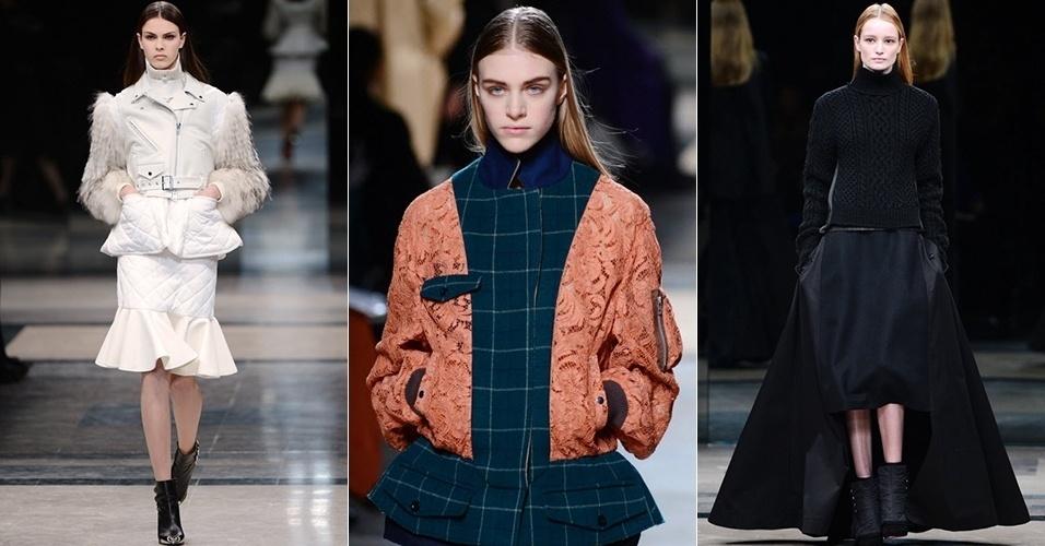Modelos apresentam looks de Sacai para o Inverno 2013 durante a semana de moda de Paris (04/03/2013)